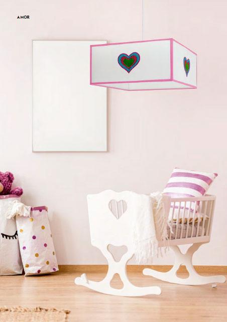 Lámpara colgante infantil pantalla cuadrada Amor