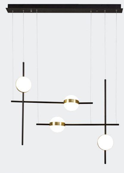 Lámpara techo led lineal negro y oro 88 cm Cuba