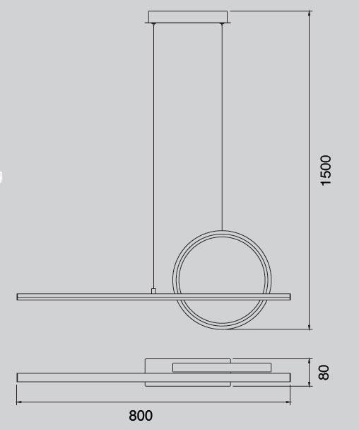 Lámpara de techo led una barra y un circulo lateral Kitesurf