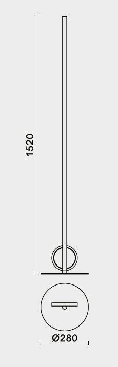 Lámpara de suelo led una barra y un aro pequeño Kitesurf