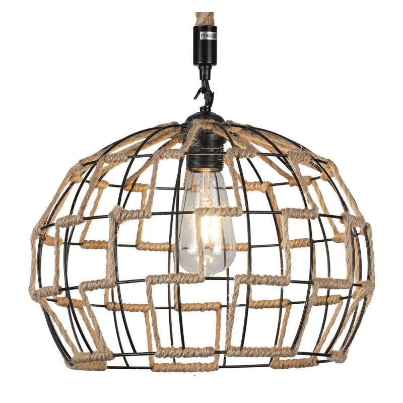 Lámpara colgante 1 luz metal y cuerda cáñamo Yute 8