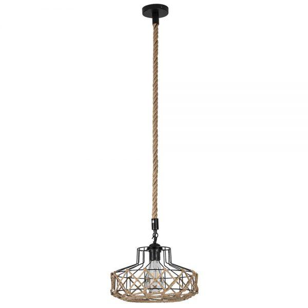 Lámpara colgante 1 luz metal y cuerda cáñamo Yute 7