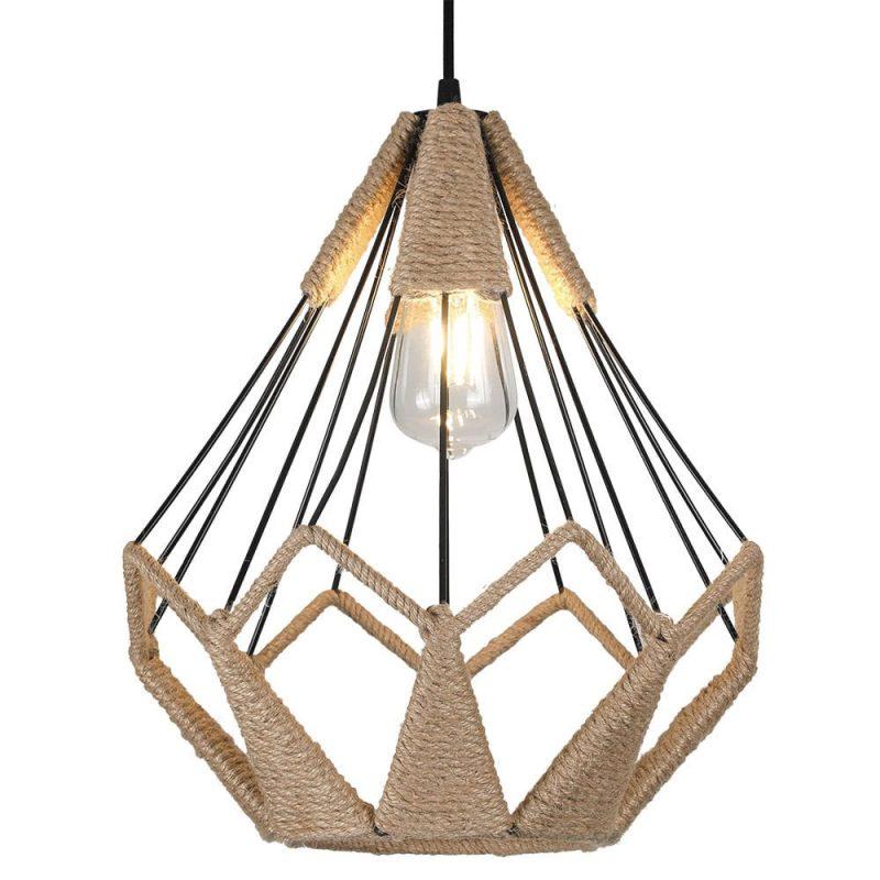 Lámpara colgante 1 luz metal y cuerda cáñamo Yute 6