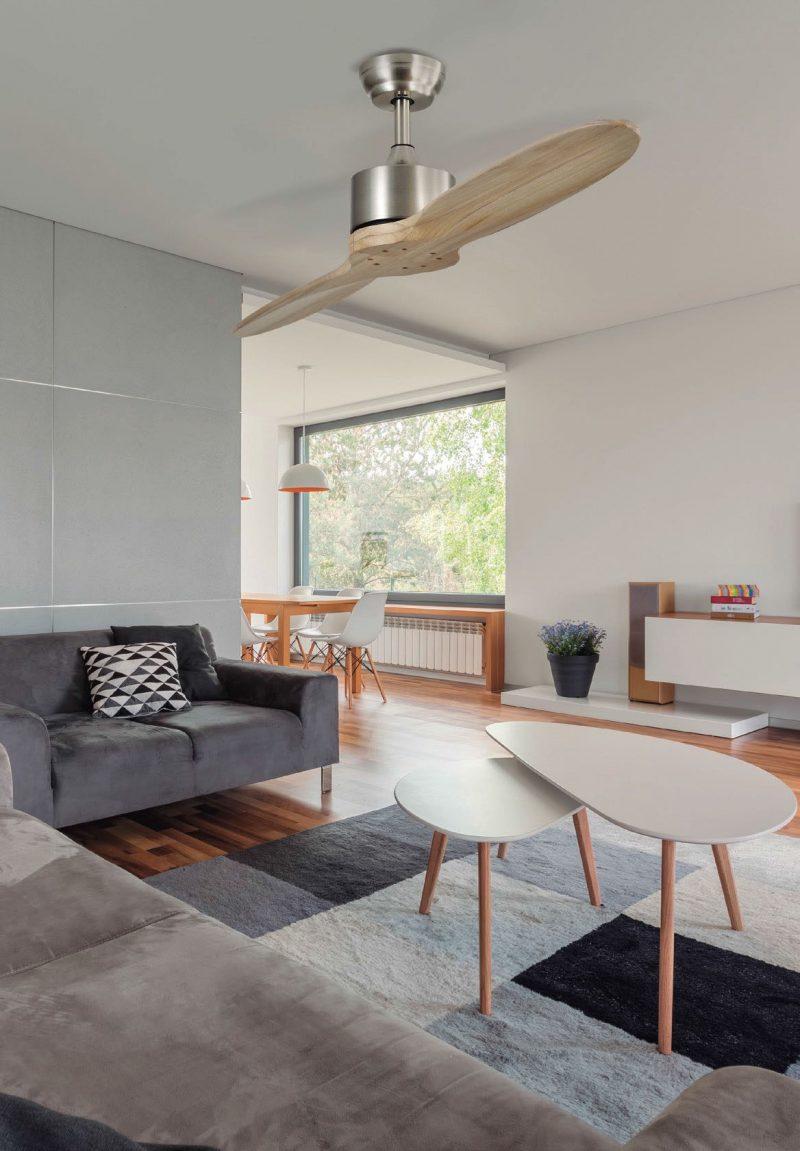 Ventilador techo sin luz 2 aspas madera 132 cm Leste