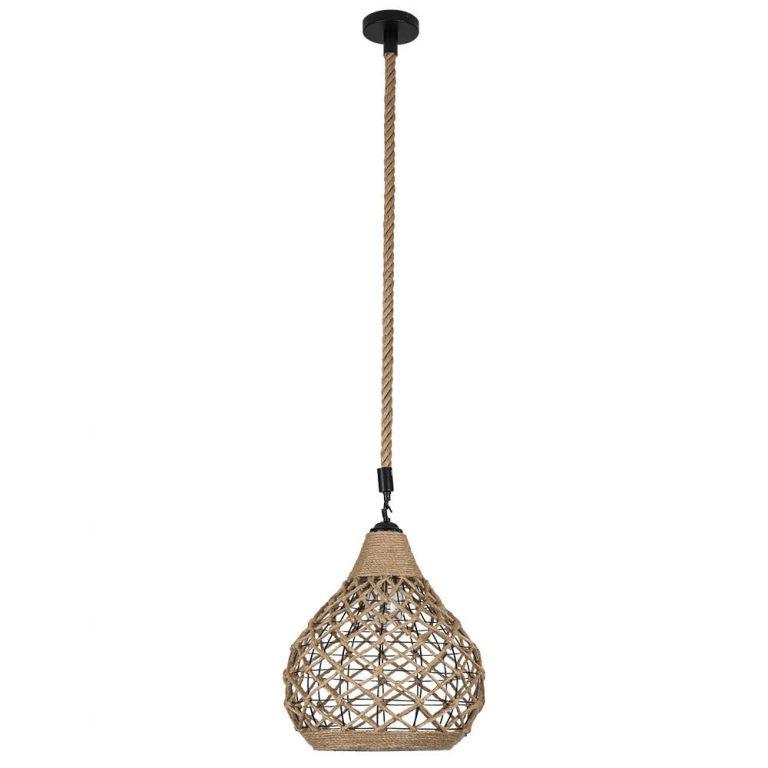 Lámpara colgante 1 luz metal y cuerda cáñamo Yute 9