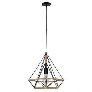 Lámpara colgante 1 luz metal y cuerda cáñamo Yute 4