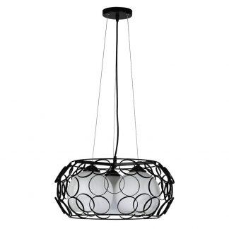 Lámpara colgante 3 luces aros negros Peregrino