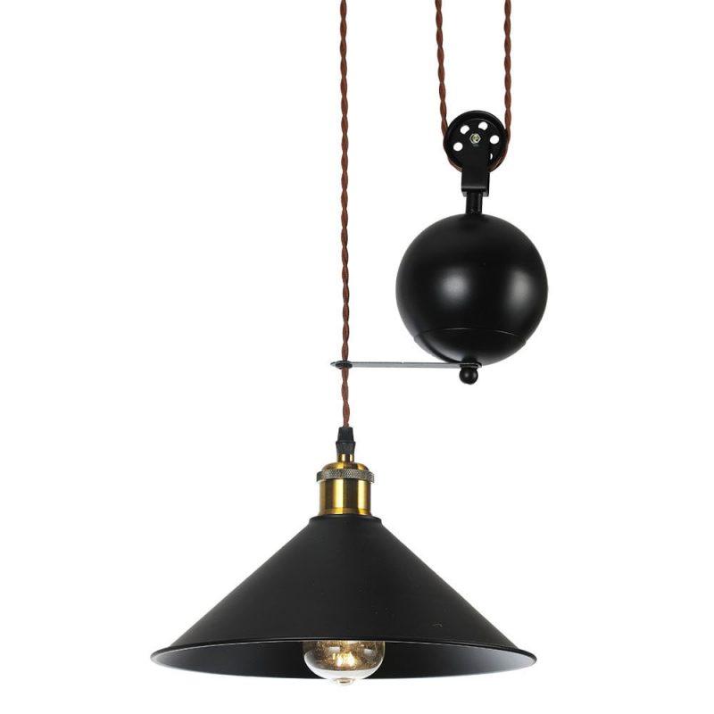 Lámpara colgante techo 1 luz polea Triguero