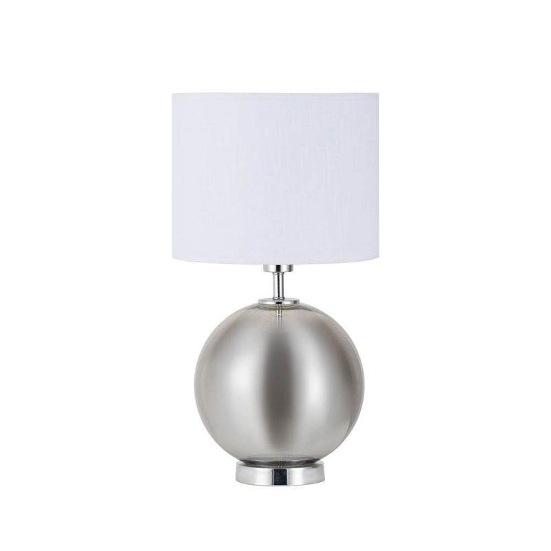 Lámpara de mesa metal y cristal con pantalla Iroko