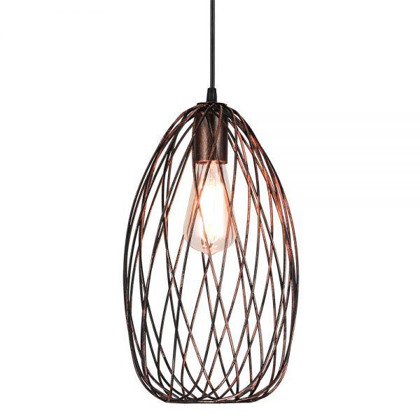 Lámpara colgante oval vertical marrón óxido cobrizo Cormoran