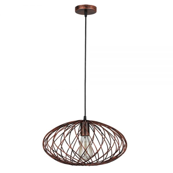 Lámpara colgante oval horizontal marrón óxido cobrizo Cormoran