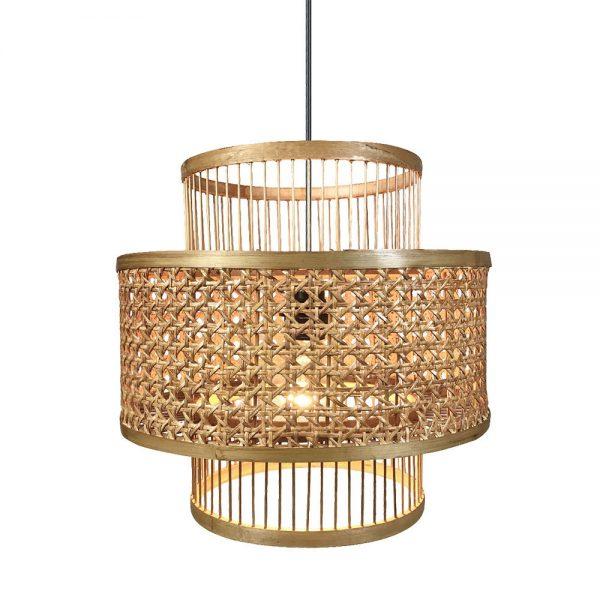 Lámpara colgante 1 luz bambú y rattan Bromelia 3
