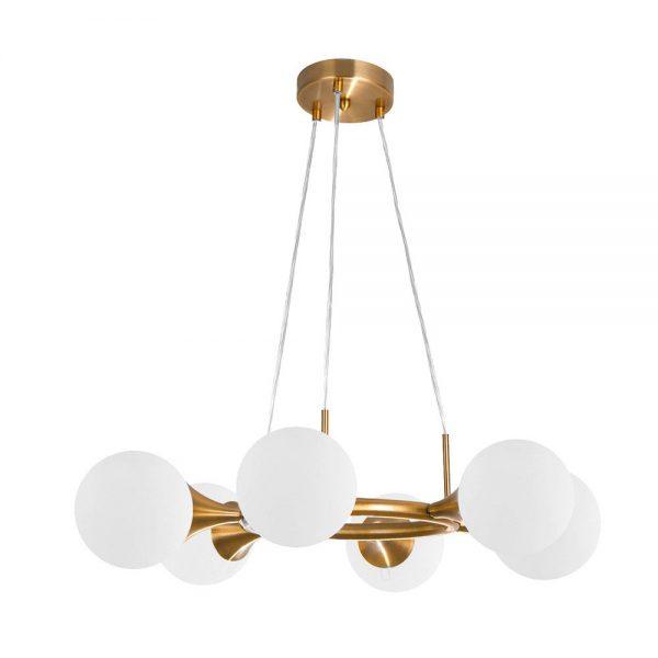 Lámpara de techo 6 luces oro cobrizo circular Frey