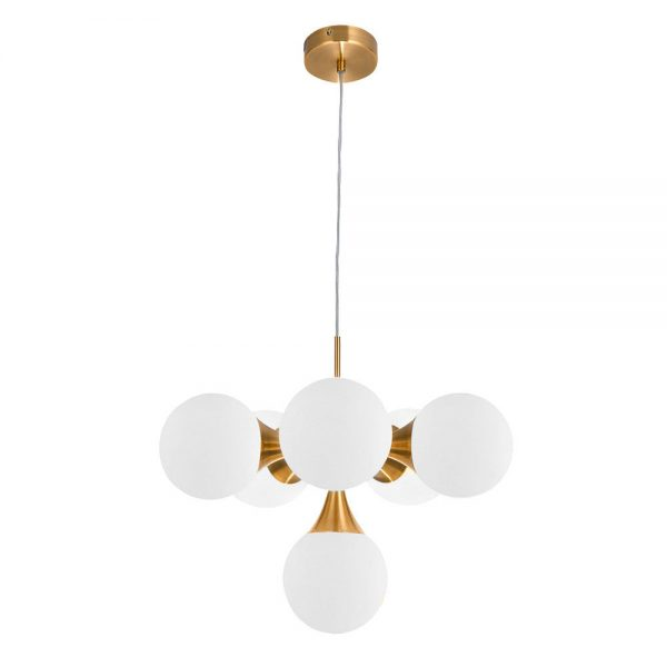 Lámpara de techo 6 luces oro cobrizo Frey