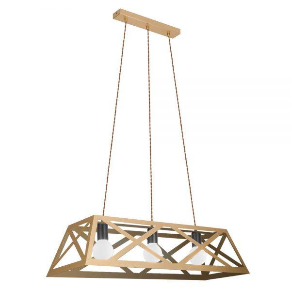 Lámpara de techo 3 luces oro mate rectangular Melli