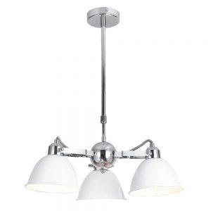 Lámpara de techo 3 luces cromo tulipa blanca Buri