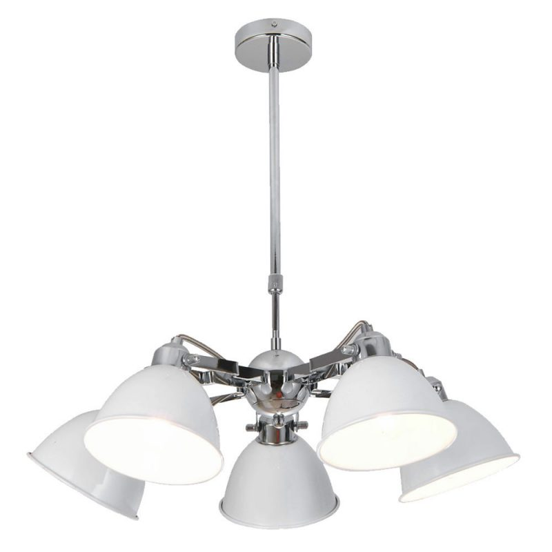 Lámpara de techo 5 luces cromo tulipa blanca Buri