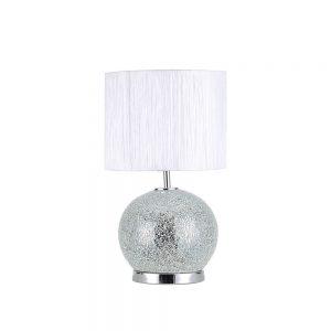 Lámpara mesa esfera cristal doble encendido con pantalla Secoya