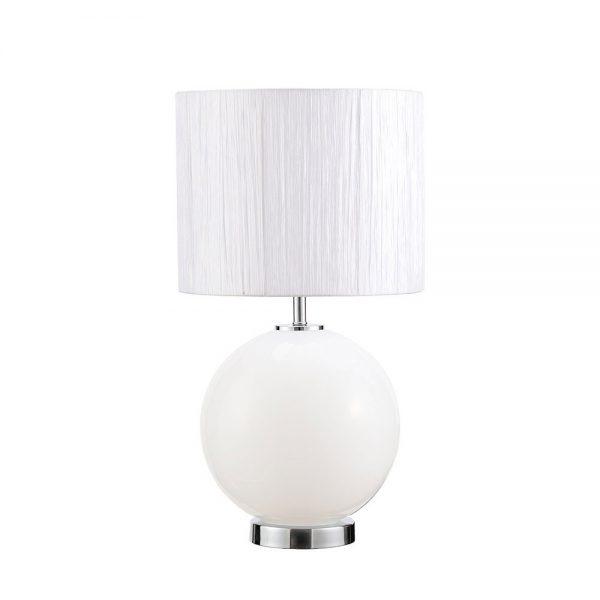 Lámpara mesa esfera cristal doble encendido con pantalla Teka