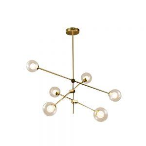 Lámpara techo 6 luces cuero envejecido Jerusalen