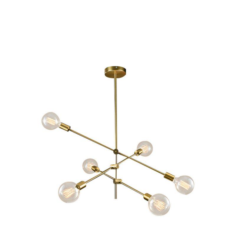 Lámpara techo 6 luces E27 cuero envejecido Jerusalen