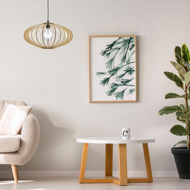 Lámpara colgante techo láminas madera 45 cm Sapelli