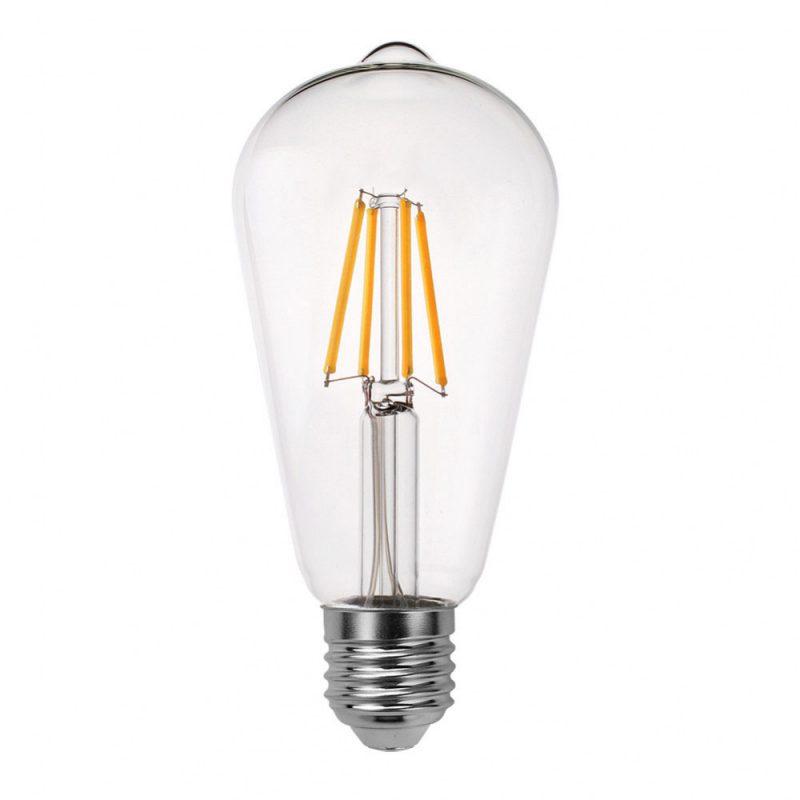 Bombilla filamento led pebetero cristal transparente E27 8W 2700K