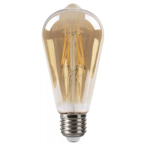 Bombilla filamento led pebetero cristal ámbar E27 4W 2700K