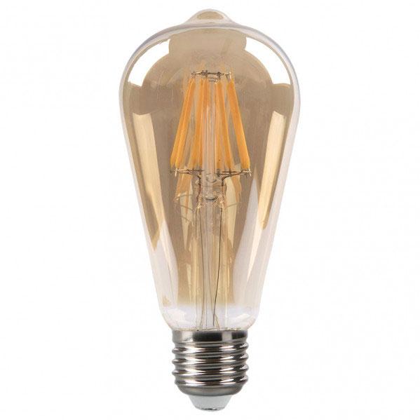 Bombilla filamento led pebetero cristal ámbar E27 8W 2700K