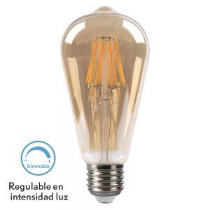 Bombilla filamento led pebetero regulable cristal ámbar E27 8W 2700K