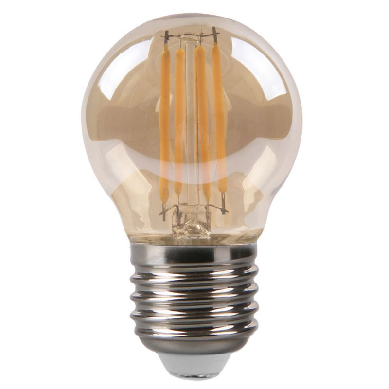 Bombilla filamento led esférica cristal ámbar E27 4W 2700K