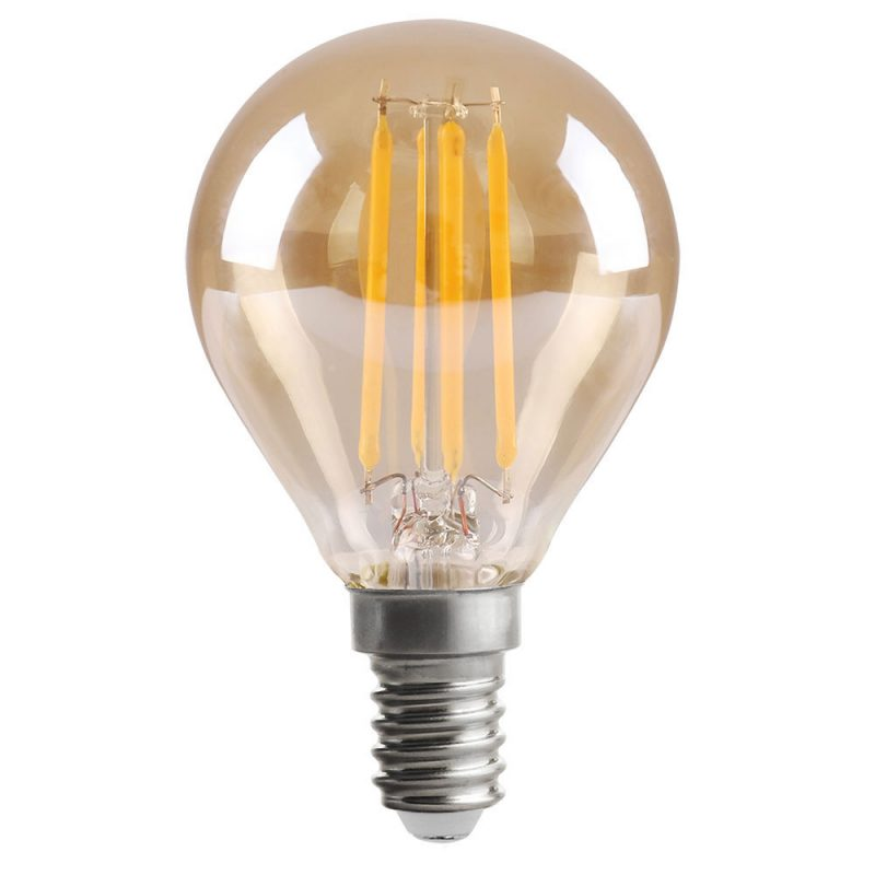 Bombilla filamento led esférica cristal ámbar E14 4W 2700K