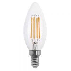 Bombilla vela filamento led cristal transparente E14 4W 2700K