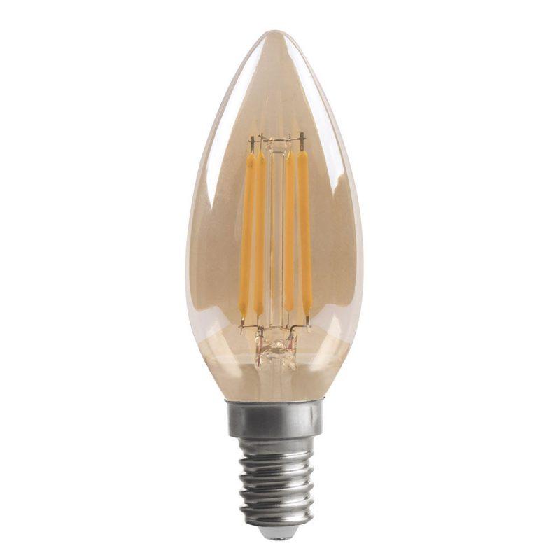 Bombilla vela filamento led cristal ámbar E14 4W 2700K