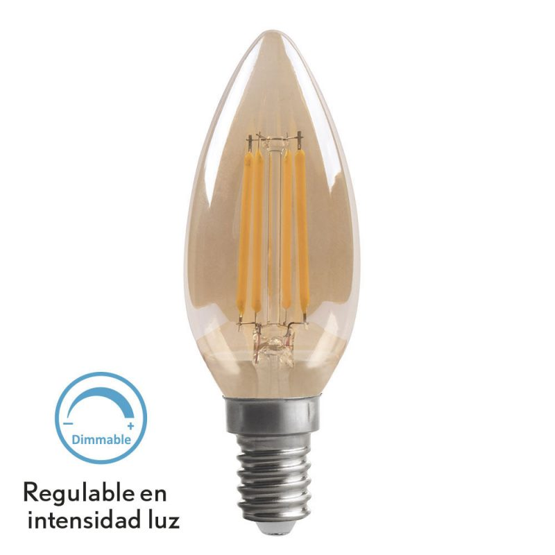 Bombilla vela filamento led cristal ámbar regulable E14 4W 2700K