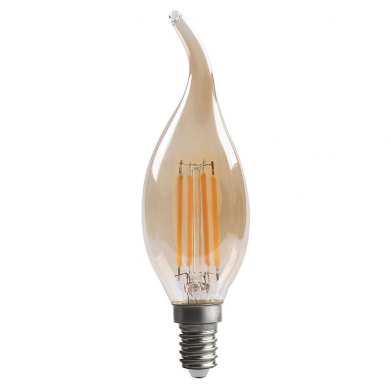 Bombilla vela filamento led cristal ámbar Bohemia E14 4W 2700K