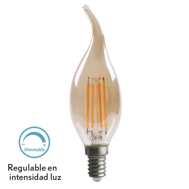 Bombilla vela filamento led cristal ámbar regulable Bohemia E14 4W 2700K