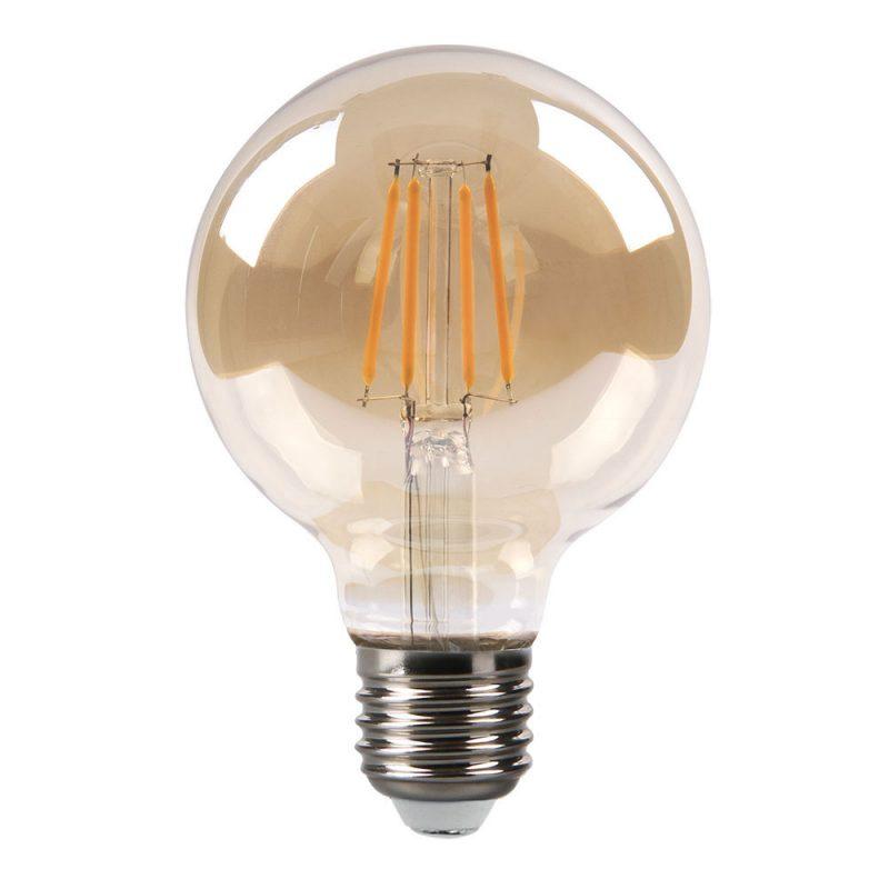 Bombilla filamento led globo cristal ámbar 80mm E27 8W 2700K