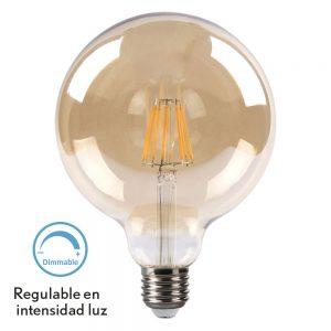 Bombilla filamento led globo cristal ámbar regulable 125mm E27 8W 2700K