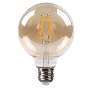 Bombilla filamento led globo cristal ámbar 95mm E27 8W 2700K