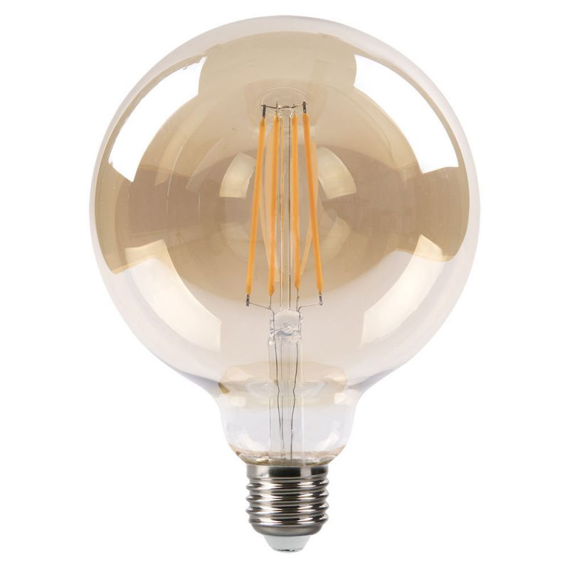 Bombilla filamento led globo cristal ámbar 125mm E27 8W 2700K