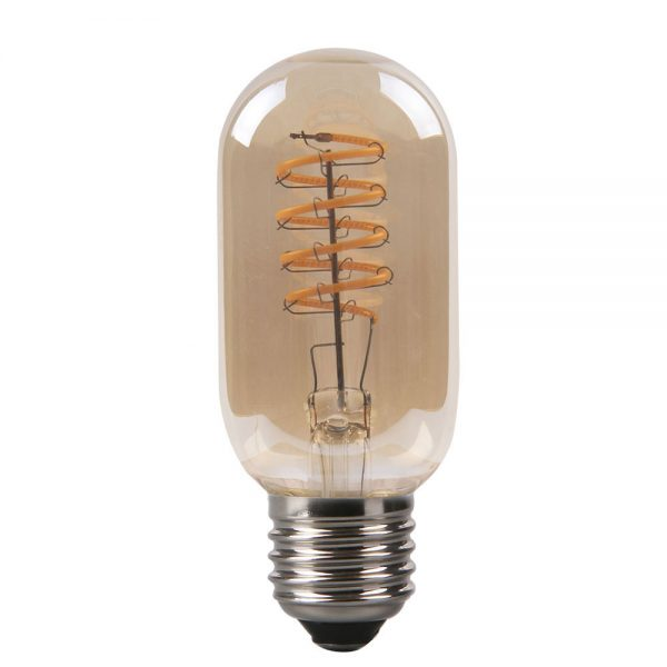 Bombilla filamento led espiral vertical tubular cristal ámbar E27 4W 2200K