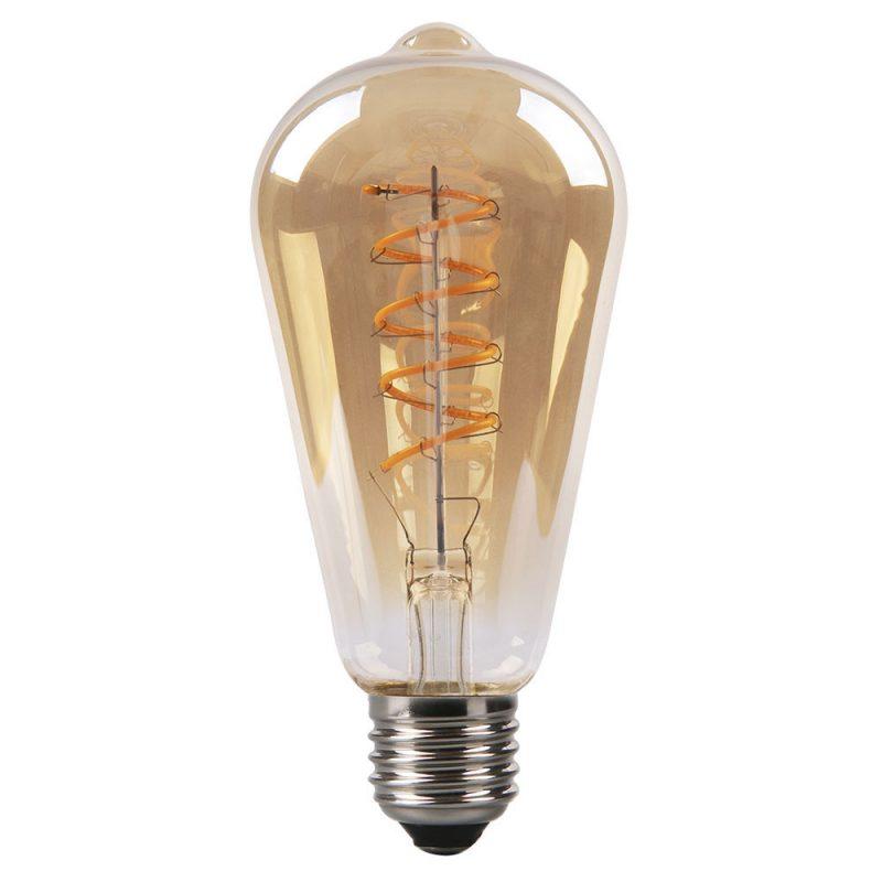 Bombilla filamento led espiral vertical pebetero cristal ámbar E27 4W 2200K