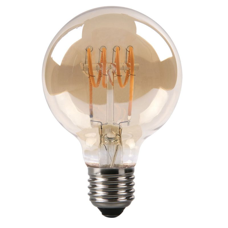 Bombilla filamento led espiral horizontal globo cristal ámbar 80mm E27 4W 2700K