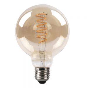 Bombilla filamento led espiral vertical globo cristal ámbar 95mm E27 4W 2200K