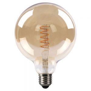 Bombilla filamento led espiral vertical globo cristal ámbar 125mm E27 4W 2200K