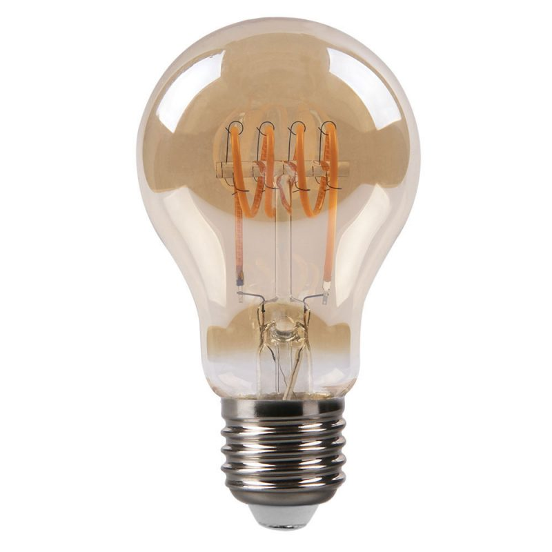 Bombilla filamento led espiral horizontal standard cristal ámbar E27 4W 2200K