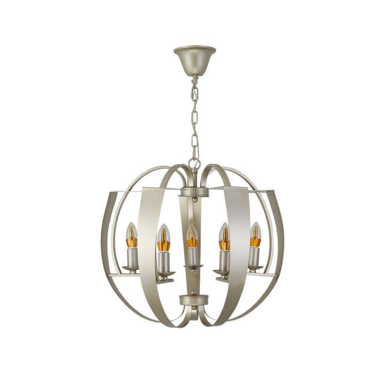 Lámpara colgante 5 luces Champagne Capuchina. Fabricada en metal de color Champagne compuesta por un armazón de cintas metálicas que envuelven 5 brazos formando una esfera. Ideal para salones para dar un estilo Vintage como moderno