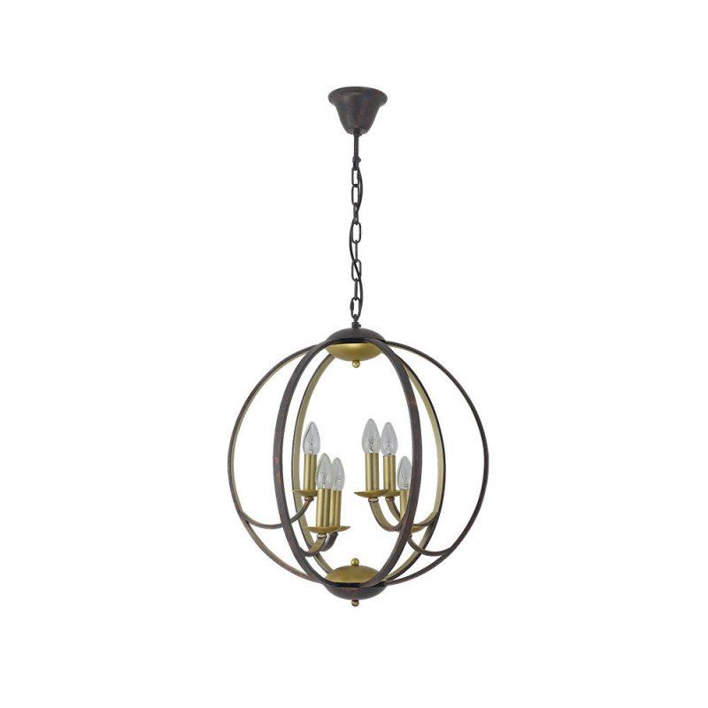 Lámpara colgante 6 luces velas esfera Narciso