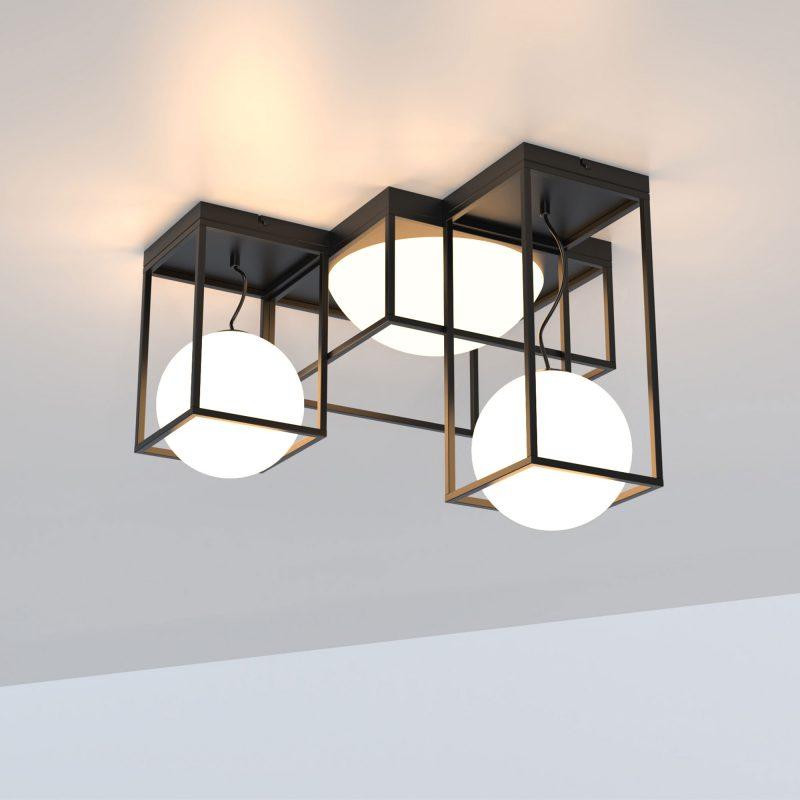 Plafón 5 luces un cristal fijo+dos cristales en suspensión opal Desigual